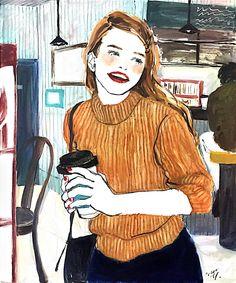 土屋みよ,女の子,イラスト,コーヒー,ニット,笑顔