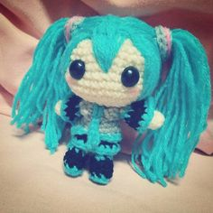 _catnipxgurumi_:: Hoping that your Monday will be less blue with Miku! (Although she is kinda teal blue..ish..) #miku #hatsune #hatsunemiku #mikuhatsune #crochet #amigurumi #catnipxgurumi #japanese #vocaloid #chibi #cute #girl #voicebankvocaloid #teal #blue #craft #handmade #yarn #doll