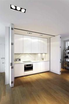 comment cacher les meubles dans la cuisine avec une porte accordeon interieur