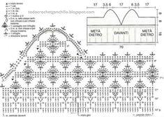 Schemes of knitting crochet bodice . Crochet Lingerie, Crochet Bra, Crochet Shirt, Crochet Motif, Crochet Clothes, Crochet Patterns, Top Crop Tejido En Crochet, Crochet Stitches Chart, Mode Du Bikini