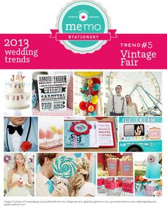 '2013 and into 2014 will see circus/carnival theming making it's way into weddings - ..... VINTAGE style' '.....old school carnival bow ties, candy apple favors, fairy floss, retro ice-cream trucks, and late night munchie popcorn cart'  Good advertising artwork