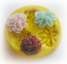 Flower Rose Lilly Daisy Polymer Clay Flowers Cabochon Mold Resin Clay Mould