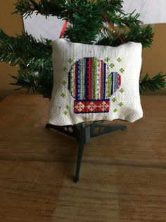 Winter Mittens Christmas Cross Stitched Ornament-Mitten, Winter