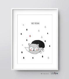 Nursery Printable Art, Fox Illustration, Nursery Art, Kids Room Art, Sweet Dreams Illustration