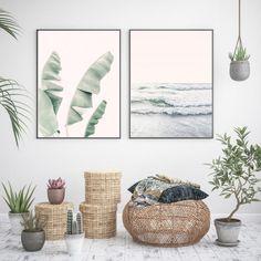 Banana Leaf Pastel Art Print by Sisi and Seb - Fy Coastal Wall Art, Home Wall Art, Wall Art Decor, Cactus Decor, Plant Decor, Woodland Nursery Decor, Beach Print, Pastel Art, Wall Art Sets