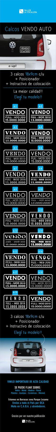 Cartel Vendo Auto | Calco Vendo Auto 18x9cm Promo X 3 Calcos - $ 50,00