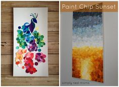 DIY Paint Chip Peacock and Sunset-Top 15 Paint Chip DIY Projects For Home Decoration #Crafts, #Home, #Decorating
