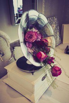 Vintage gramophone flower display