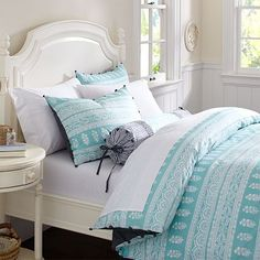 Serena Blockprint Stripe Duvet Cover & Sham from PBTeen. I love the calming color and pattern. #PBDORM