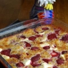 Strawberry Cream Cheese Cobbler-I have made this 2x in the last few weeks and my family annialates it. Serve it warm with vanilla ice cream. To die for. And EASY! (I quartered my strawberries. Whole just seems like a lot for one bite. Worked great.)