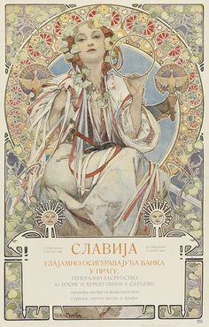 "Poster by Alphonse Mucha (1860-1939), 1907, Bank ""Slavia"" (personification of the Slavic people), Prague."