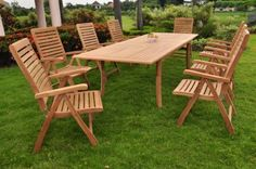 """New 9 Pc Luxurious Grade-A Teak Dining Set - 117"""" Rectangle Table And 8 Reclining Arm Chairs [Model:ALd] by WholesaleTeak. $2199.99. The chairs are reclining comfortable chair, reclines in 5 different positions.. Rectangle Table Dimension: 82"""" L(without extension) and 117"""" L(with extension), 42.5"""" W , 30.5"""" H. Chairs folds for easy storage. Dimension: 22"""" Width x 23"""" Depth x 42"""" Height.. ADD SUNBRELLA FABRIC CUSHIONS BY SEARCHING """"Wholesaleteak Dining Cushion"""" ON AMAZON, CUS..."""