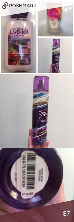 Bath & Body Works Bundle Small sized lotion: French Lavender & Honey. {new, never used}   Regular size body wash: Sweet Pea {used twice}   Regular sized body spray: Merry Berry Christmas {has about 80% left} Accessories