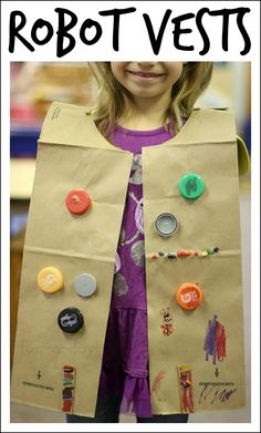 Robot vests are a fun way for kiddos to create their own dress up clothes for a robot theme.