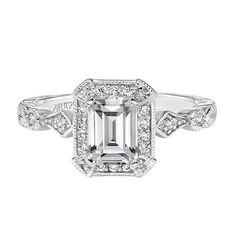 This classic and romantic 14K white gold ring: | 19 Stunning Vintage-Inspired Engagement Rings That'll Make You Swoon