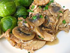 Chicken in Creamy Mustard Marsala Sauce from Can You Stay for Dinner. Serves 4. Each serving is just under 300 calories with 17 grams of fat. This site has many yummy sounding skinny recipes from a woman who lost 135 pounds and has kept it off for over 5 years. -CAB