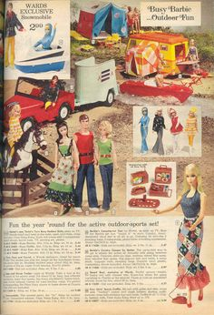 Montgomery Ward's exclusive Barbie snowmobile, Camping-Out Tent and Country Camper. Ward's exclusive red speed boat, Jeep, horse trailer and pinto pony and corral from the Montgomery Ward's Christmas Catalog, early 1970's