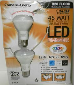 FEIT ELECTRIC 45 WATT REPLACEMENT BULBS LED DIMMABLE R20 FLOOD USES ONLY 8 WATTS #FEITELECTRIC