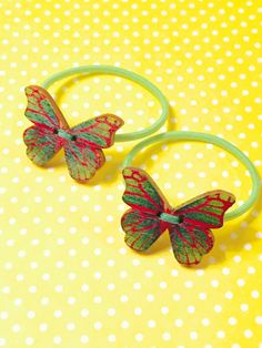 Ponytail Hair Tie Pigtail Pair of Wood Butterfly Girls Elastic Hair Bands Green…