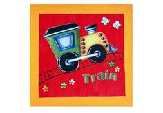Yellow Red Train Picture on Canvas for Child or by ShimmerPlace, $15.00