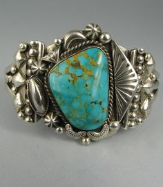 Vintage Navajo HENRY SAM Turquoise Bracelet w/Ornate Silverwork. via Ebay