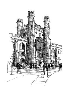 Evans Hall - OU Campus, Norman, Oklahoma this is my professor Sketch Painting, Drawing Sketches, Art Drawings, Building Illustration, Illustration Art, Perspective Sketch, City Sketch, Hand Sketch, Architecture Drawings