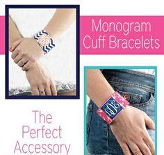 Monogrammed Personalized Cuff Bracelets $10.99