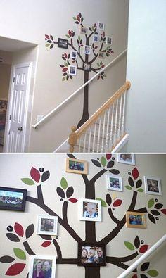 Decora tu pared con un árbol genealógico pintado.