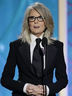 Diane Keaton. Hair, glasses, suit, polish .. everything. Love her unique style.