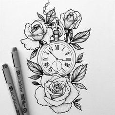 Tattoo Compass Drawing Design New Ideas Rose Drawing Tattoo, Tattoo Sketches, Tattoo Drawings, Rose Drawings, Popular Tattoos, Trendy Tattoos, Tattoos For Guys, Arm Tattoos For Women, Stencils Tatuagem