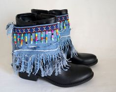 Items similar to Native American denim fringe boot covers-Boho boot covers -Super Distressed-Gypsy boot cuffs-Hippie boot cuffs-Boot socks-Ethnic boot cuffs on Etsy Gypsy Boots, Hippie Boots, Boho Boots, Denim Boots, Fringe Boots, Crochet Boot Cuffs, Crochet Boots, Botas Boho, Boot Bracelet