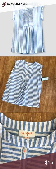 Cat & Jack Woven Blue Striped Stripe Blouse NEW 10 Cat & Jack Woven Blue Striped Stripe Blouse NEW NWT L 10/12  Super cute.  Buttons partway down the front.  Buttons are sewn on with neon orange thread.  New with tag.    #new #nwt #blouse #stripe #striped #stripes #woven #shirt #top #catandjack #blue #white Cat & Jack Shirts & Tops Blouses