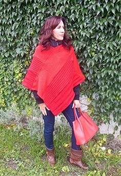 Red poncho made from old sweaters. You can wear it on our jacket whole winter!
