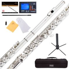 Mendini by Cecilio MFE-N Nickel Silver C Flute with Stand, Tuner, Pocketbook and Deluxe Case, Brown