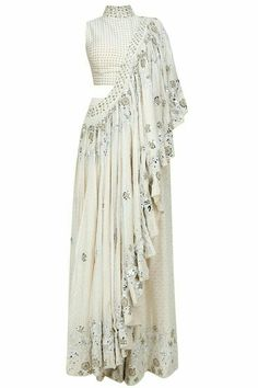 Off White Foil Embroidered flared pant sari and Front embellished Blouse. Indian Attire, Indian Wear, Indian Outfits, Stylish Sarees, Stylish Dresses, Fashion Dresses, Designer Party Wear Dresses, Indian Designer Outfits, Indian Fashion Trends