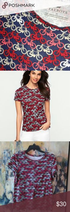 NWOT Talbots Bicycle Print tee Pima Cotton sz M Sz M pima cotton bicycle print. NWOT. Navy blue with red, salmon, cream and white bicycle print. No flaws. Talbots Tops Tees - Short Sleeve
