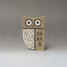 Wide awake owl brooch handmade stoneware with porcelain inlays