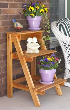 Step-by-Step Plant Stand Woodworking Plan from WOOD Magazine Woodworking Projects Man Cave Easy Woodworking Projects, Popular Woodworking, Woodworking Furniture, Diy Wood Projects, Furniture Projects, Woodworking Plans, Wood Crafts, Woodworking Classes, Woodworking Videos