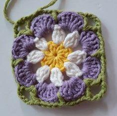 Örgü Bebek Battaniye - Mimuu.com Crochet Square Patterns, Crochet Blocks, Crochet Squares, Crochet Motif, Crochet Stitches, Crochet Afgans, Baby Afghan Crochet, Crochet Sunflower, Crochet Flowers