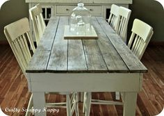 (via Crafty, Scrappy, Happy: My up-cycled dining room table) Oh this makes me wanna take my table top off and put planks on it! SOOO pretty!