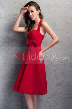 2cf51a6be815 Pretty Halter Knee-Length A-line Bowknot Renata s Prom Homecoming Dress    Tidebuy