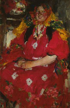 РУССКИЙ ХУДОЖНИК АРХИПОВ АБРАМ ЕФИМОВИЧ (1862 - 1930). Девушка в малиновом