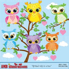 Spotted Owl - Cute owls for your next craft or creative project. Pinkie, of course is my favorite...