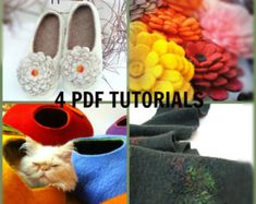 2 in 1 PDF Tutorial in English Felted Cat Cave and by Grazim