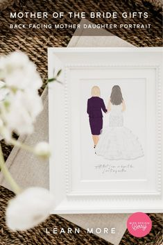 This adorable mother, daughter portrait is the perfect gift for the mother of the bride. The mother will love this back pacing custom illustration of her child and her. Perfect for anywhere in the home, you cannot go wrong with this gift. #weddinggiftidea #motherinlaw #motherofbride Mother Daughter Wedding, Father Of The Bride, Bride Portrait, Wedding Portraits, Wedding Signs, Our Wedding, Berry Wedding, Wedding Guest Book Alternatives, Art Deco Wedding