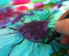 Do this, but use xantham gum or guar gum or sodium alginate to thicken dye and use it like paint, instead of using markers.