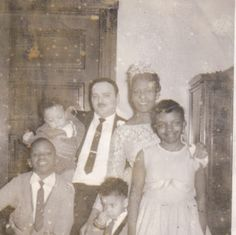 Vintage BWWM Wedding Family Photo
