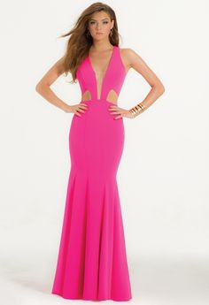 Plunging Crepe Cut Out Dress