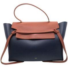Preowned Celine Belt Bag Blue/ Brown Calfskin Leather Handbag (63160 TWD) ❤ liked on Polyvore featuring bags, handbags, brown, top handle bags, hand bags, blue handbags, celine purse, belt bag and fanny pack purse
