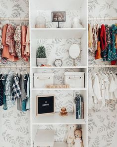 But seriously? If you ever have the option to wallpaper a nursery closet, we say YES! Baby Room Closet, Little Girl Closet, Kid Closet, Closet Bedroom, Little Girl Rooms, Kids Bedroom, Closet Wallpaper, Nursery Wallpaper, Nursery Twins
